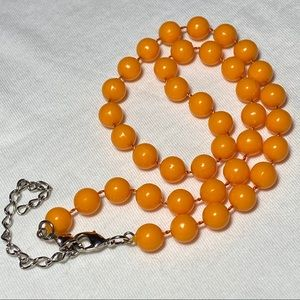 "Orange beaded necklace 16"" plus 3"" extender"